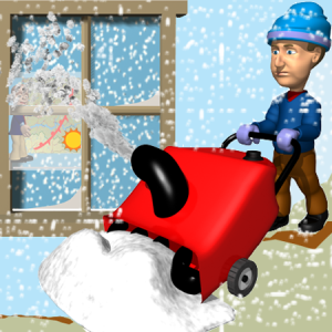 Man using snow blower graphic