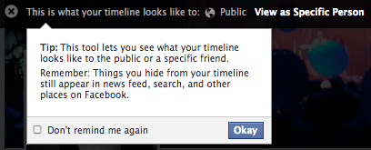 There is a way to see what the public sees when they go to your personal Facebook page.