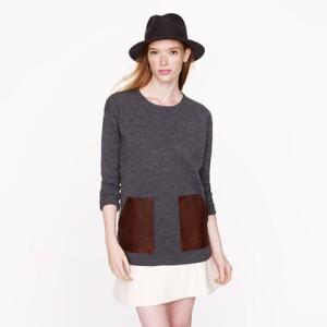 J Crew Merino Leather-Pocket Sweater