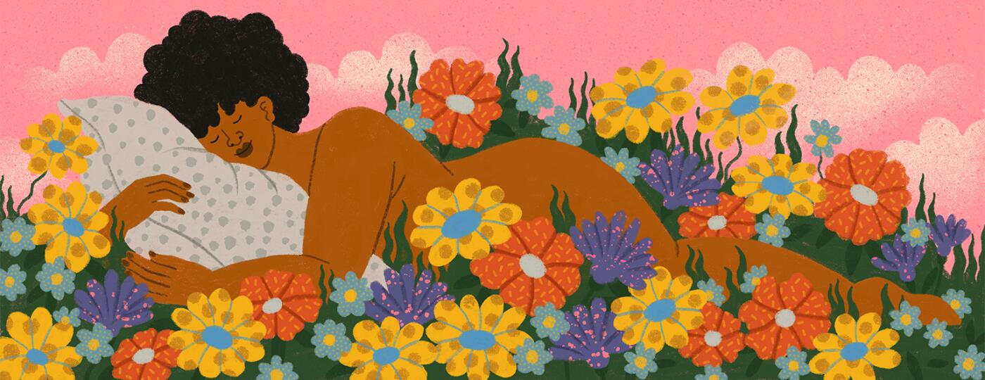 Illustration of black lady laying on a bed of flowers enjoying time by herself.