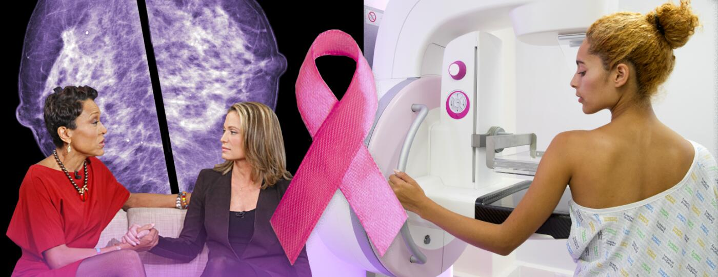 Photo from good morning america episode talking about breast cancer and woman getting mammogram