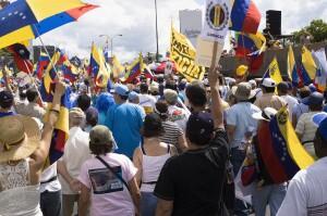 iStock_Protesters against Venezuelan government in a multitudinous parade