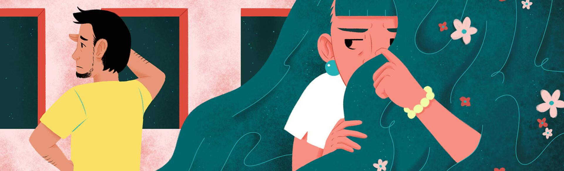 An illustration of a woman ducking behind her own hair to avoid her ex, who is searching for her.
