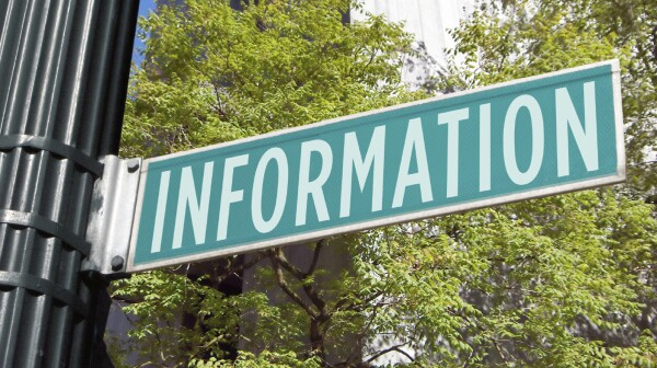 "Street sign saying ""information"""