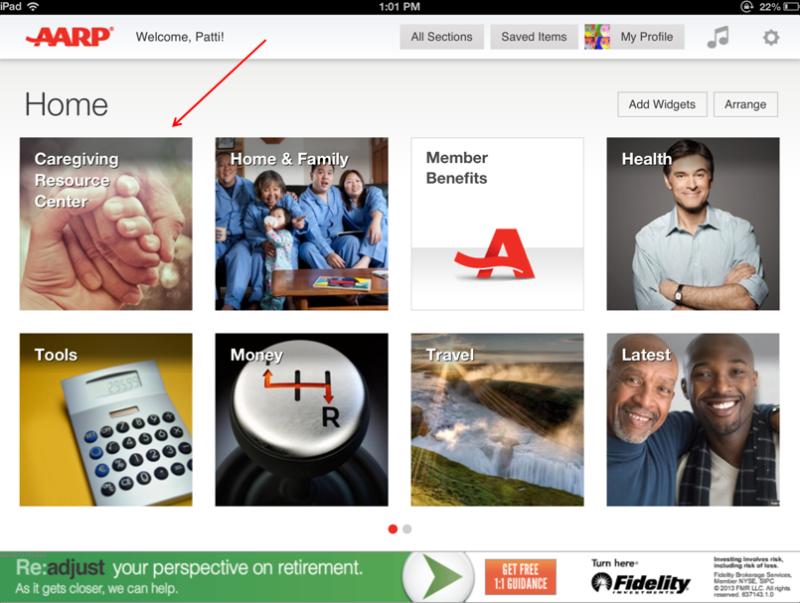AARP Caregiving Resource Center iPad app