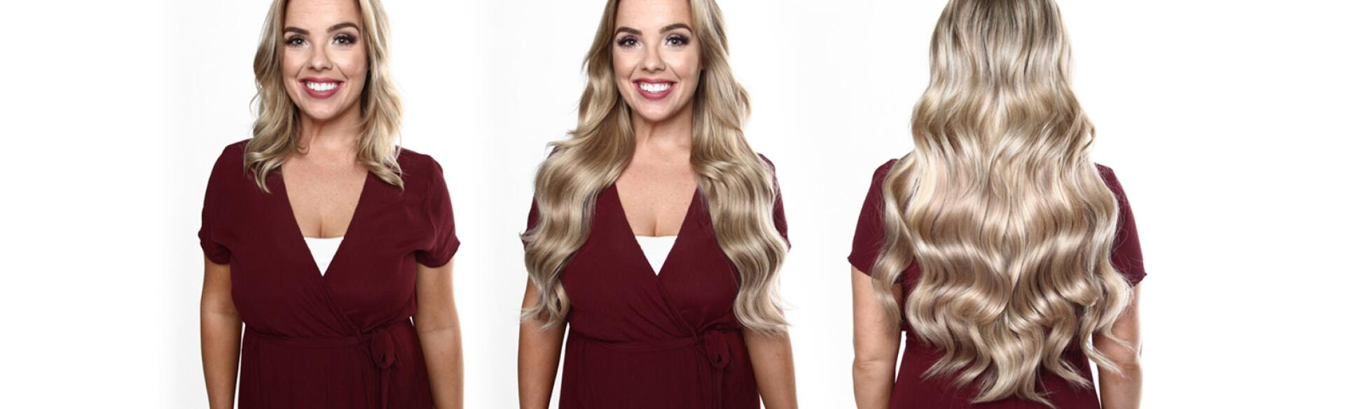 A set of before and after photos of a woman modeling halo hair extensions.