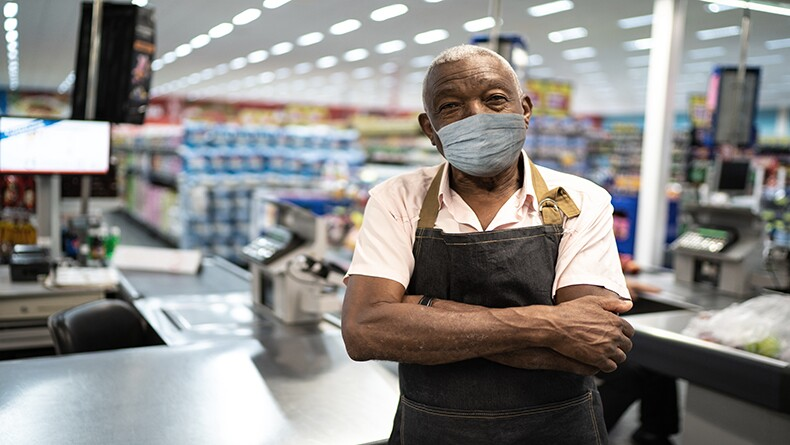 older essential worker