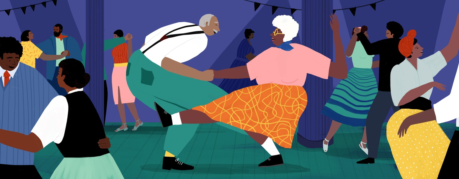 A drawing of an elderly man and woman dancing together, surrounded by younger couples.