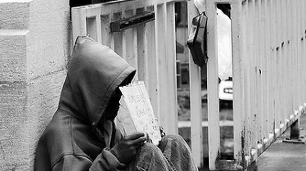 homeless man begging