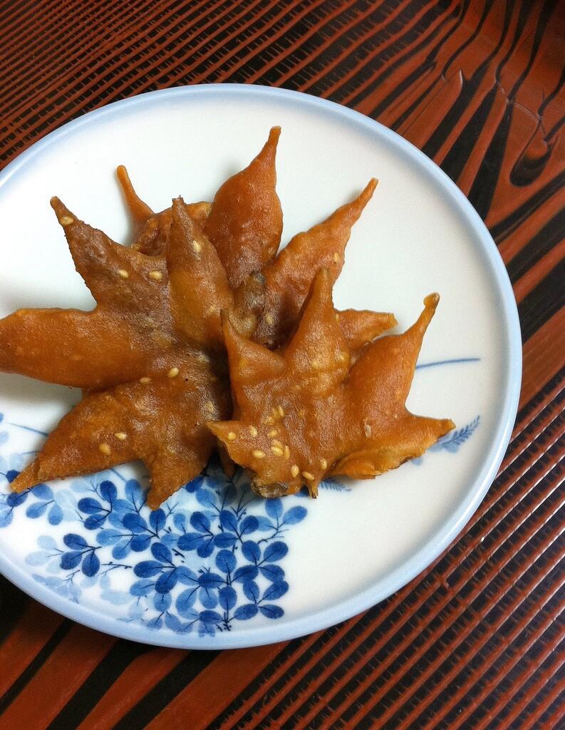Deep fried maple leaves