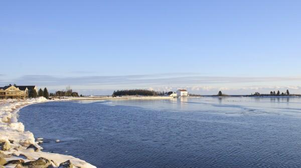 City of Grand Marais on Lake Superior in winter