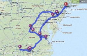 College tour map