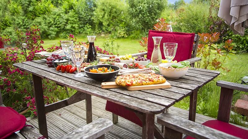 A Mediterranean antipasti on a garden table