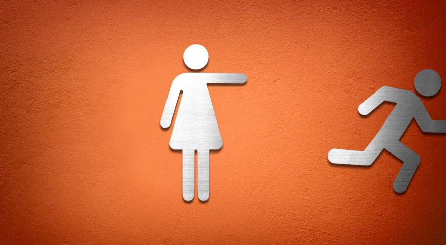 Bathroom Female and Male symbols with the male symbol running off