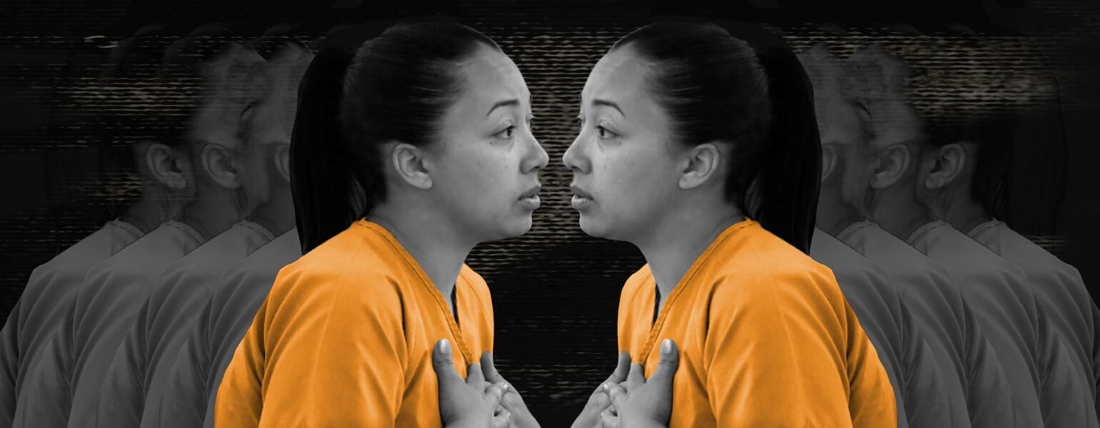 An image of Cyntoia Brown facing herself in an orange prison jumpsuit.