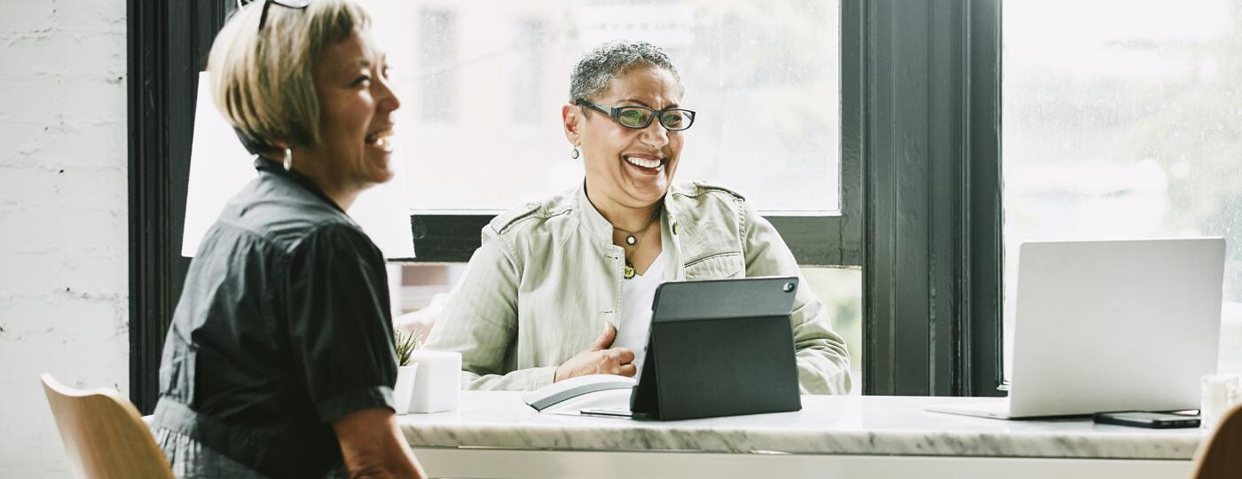 Laughing mature female business partners in meeting in office