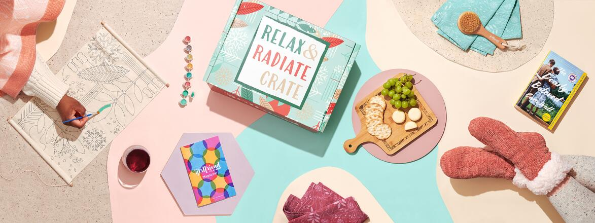 Items from the Winter 2020 Relax and Radiate Crate with two models