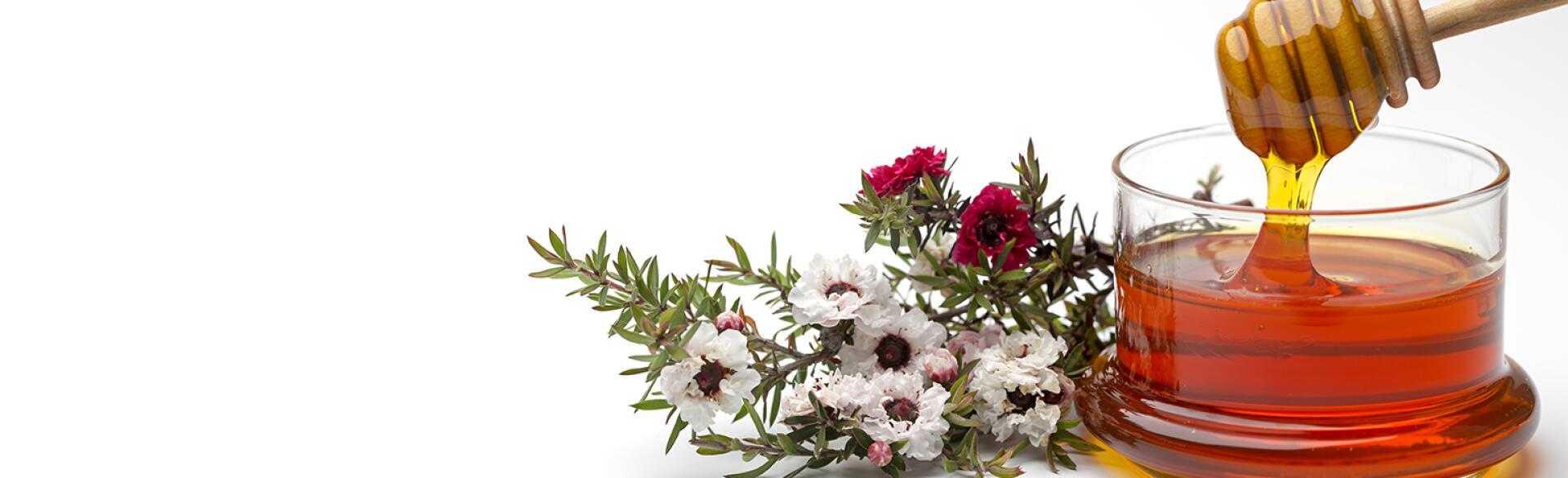jar of manuka honey next to flowers