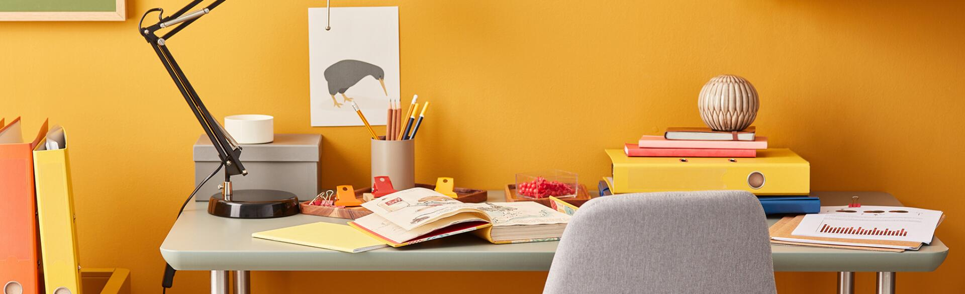 Stylish Design Of Colorful Working Place