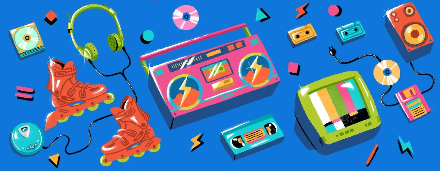 illustration of 90s electronics music playlist