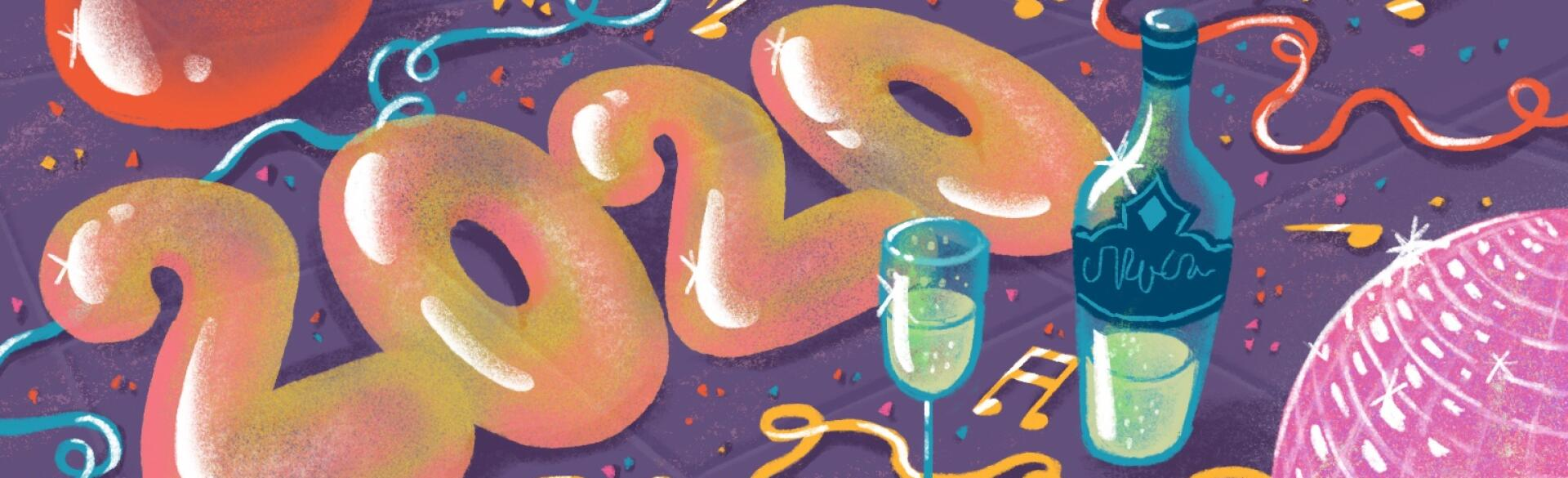 illustration of new years balloons streamers champagne for spotify playlist by charlot kristensen