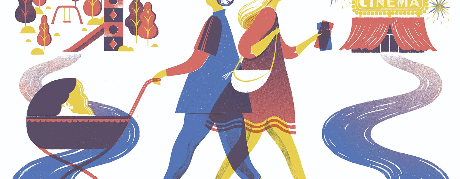 An illustration of two friends walking past each other - one is pushing their child toward a park, while the other walks alone toward a movie theater.