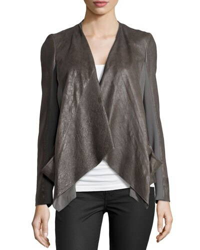 Donna Karan draped leather jacket with jersey panels