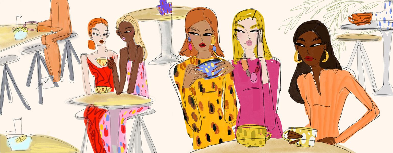 illustration of ladies gossiping at a cafe by anjelica roselyn