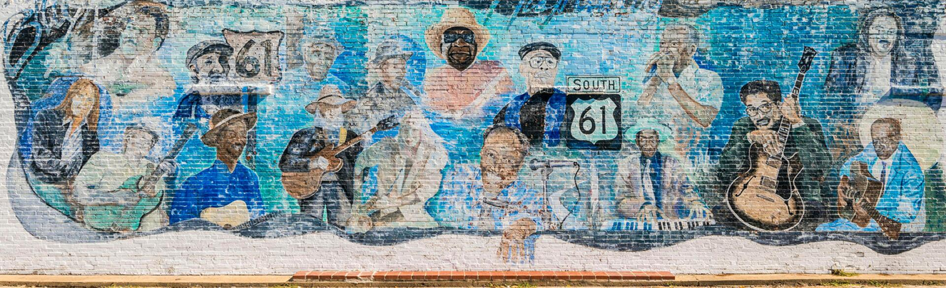 United States, Mississippi, Leland, mural about Highway 61, the Blues Highway,