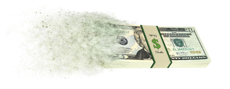 Stack of 20 dollar bills going up in smoke