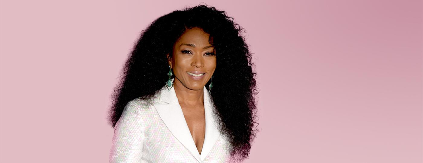 Angela Bassett with pink background