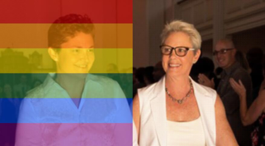 Two women with a rainbow colored bars over one of the women
