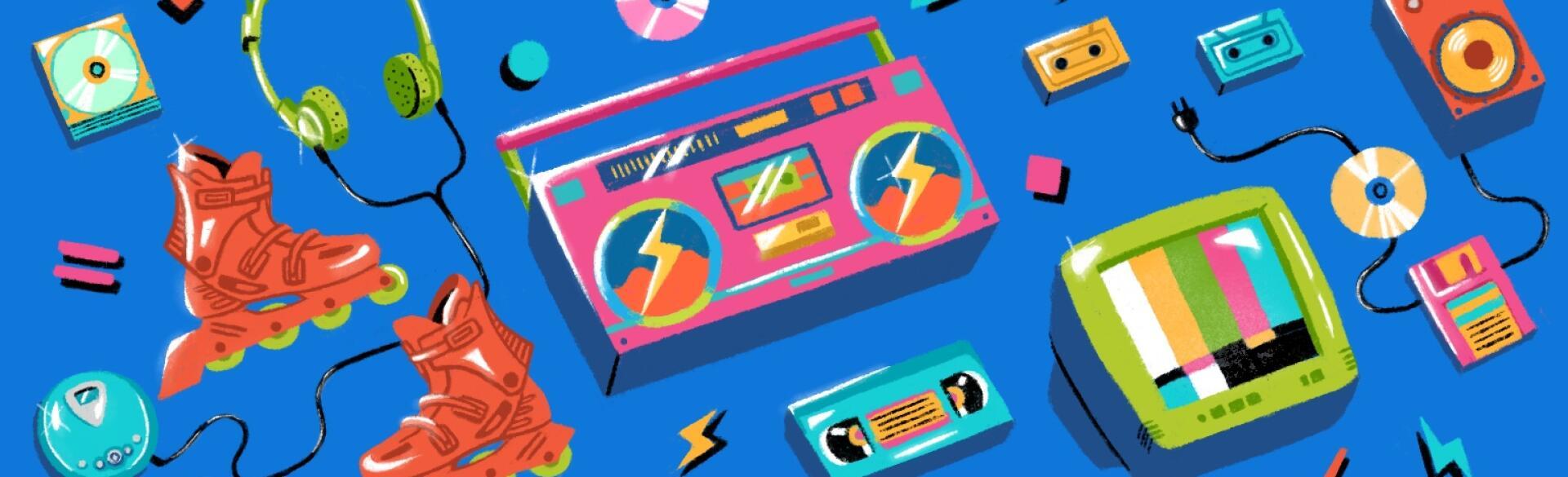 illustration of 90s electronics music playlist