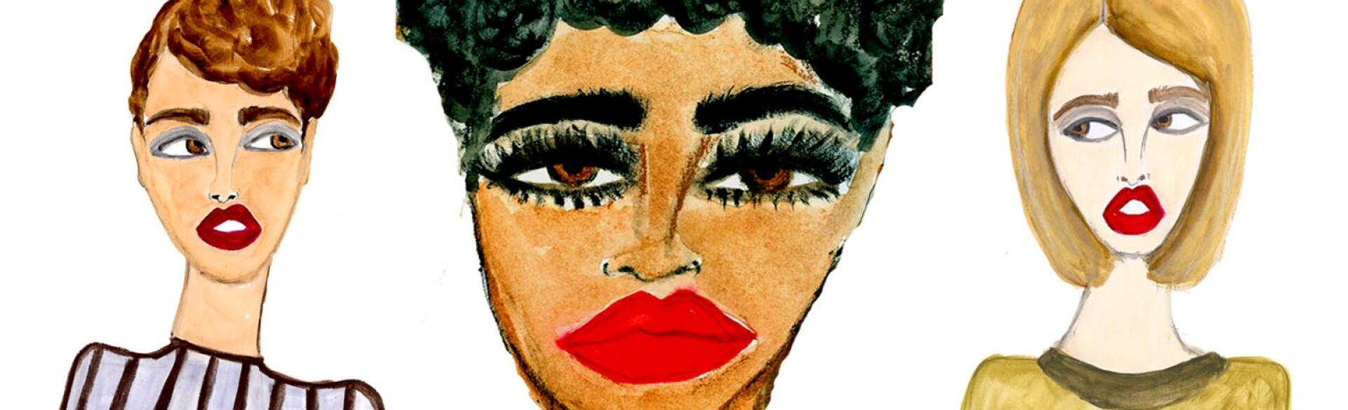 illustration of women with large eyelashes