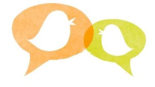 Tweeting birds with speech bubbles