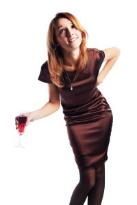 Young woman with a red wine.
