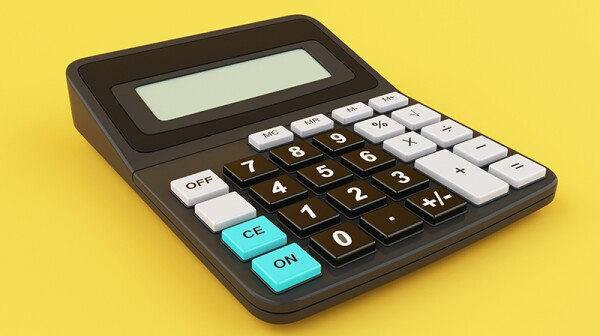 A calculator on a yellow background.