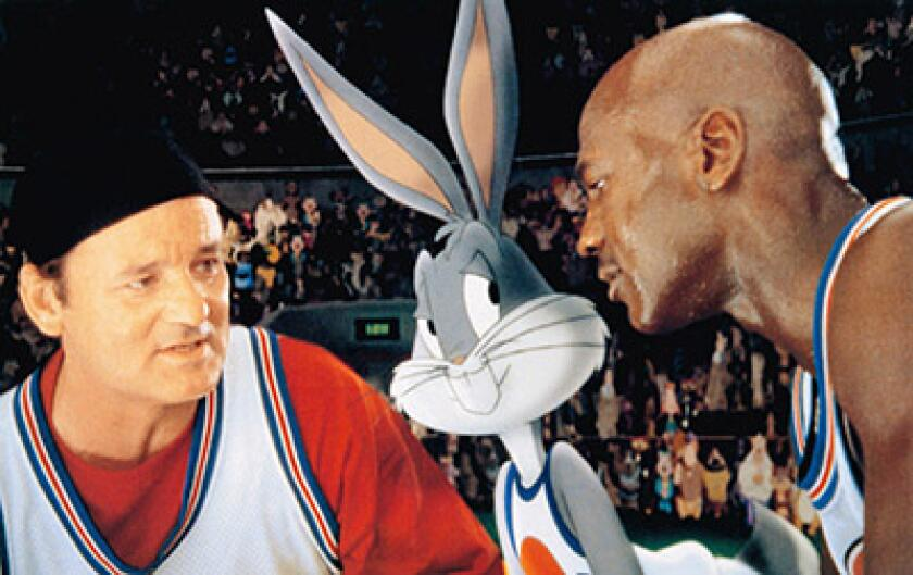 SPACE JAM, from left: Bill Murray, Bugs Bunny, Michael Jordan, 1996, © Warner Brothers/courtesy Ever