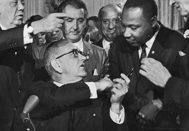 LBJ and MLK Signing Civil Rights Act 1964
