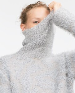 Covering up neck with sweater