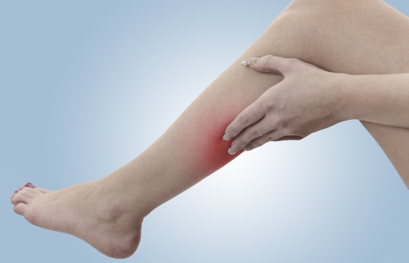 Pain in a woman calf