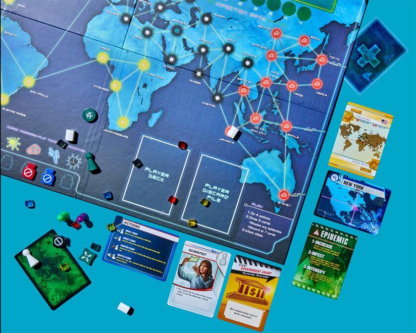 Game pieces from Pandemic.