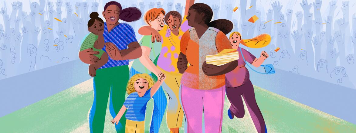 illustration of mother with her mom friends and children by eugenia mello