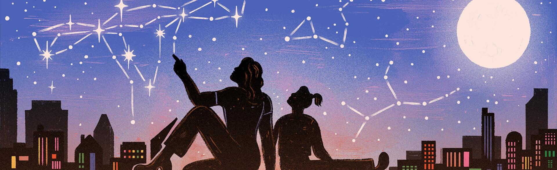 illustration of mother and daughter looking at uterus constellation at night