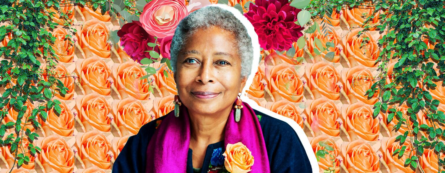photo collage of alice walker and floral assets