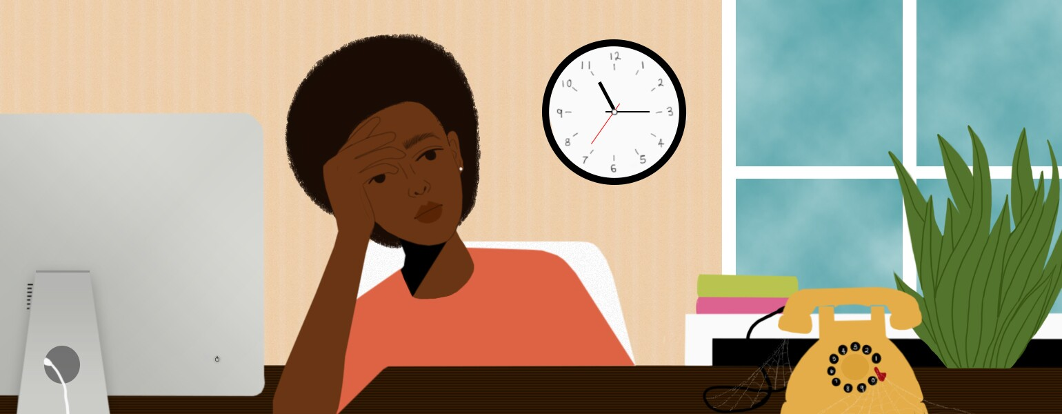 illustration of lady looking upset and sitting at desk