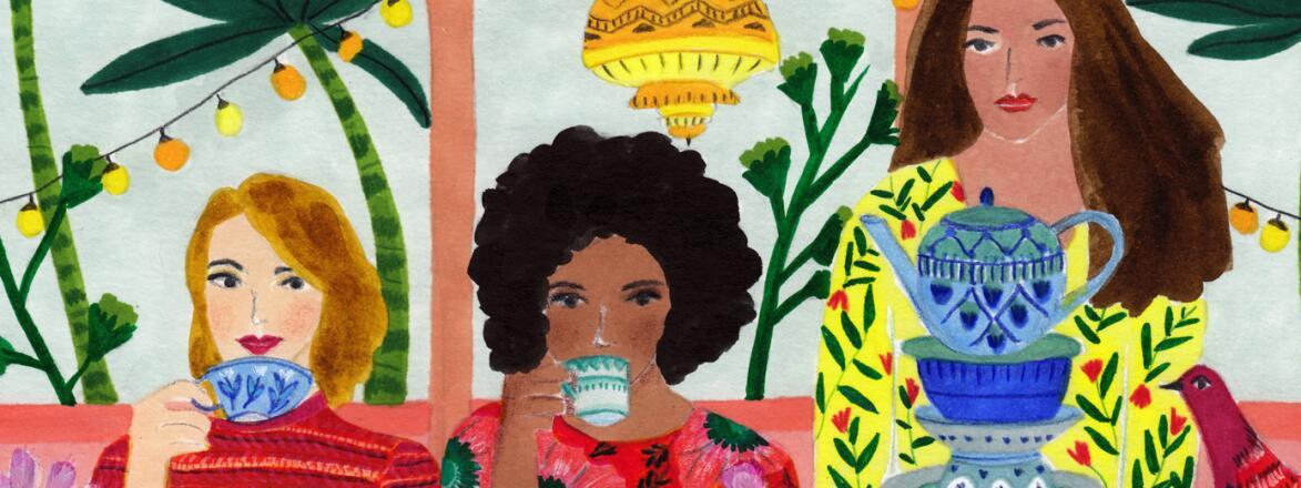 illustration of ladies drinking tea by roeqiya fris