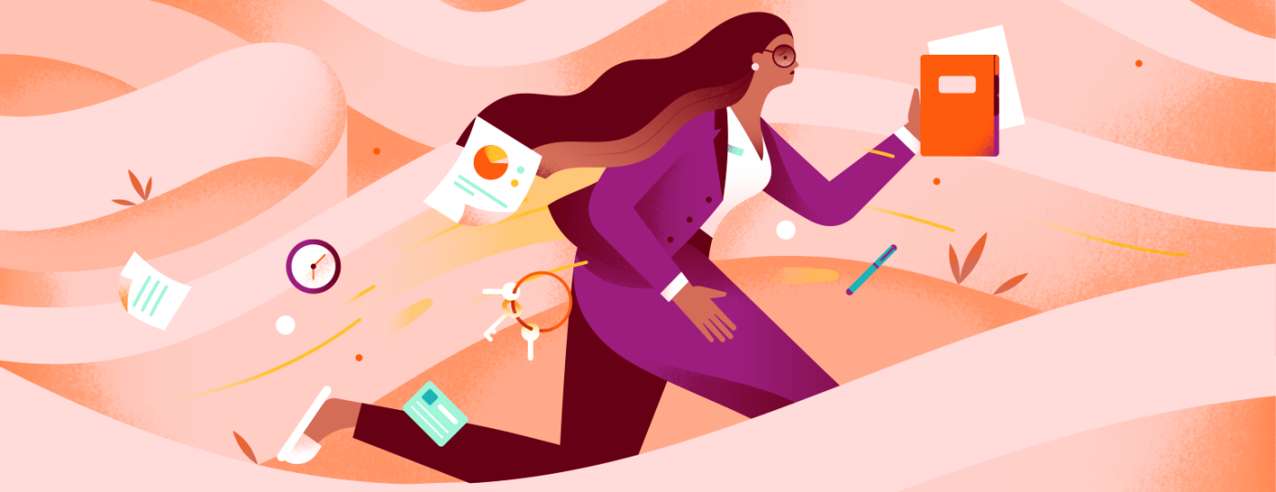 Graphic of woman running to work letting all of her belongings fly all over the place.