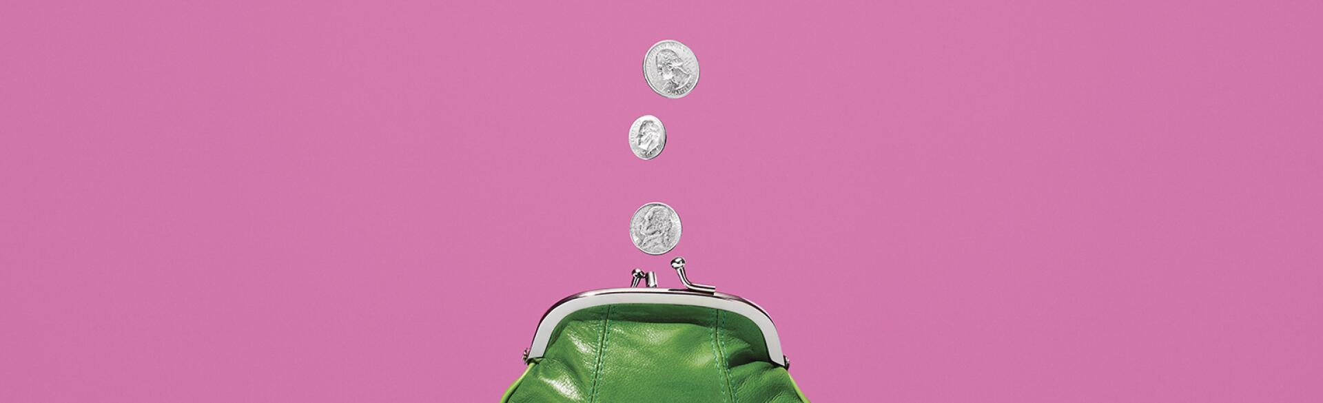 gif of small green coin purse with coins coming out