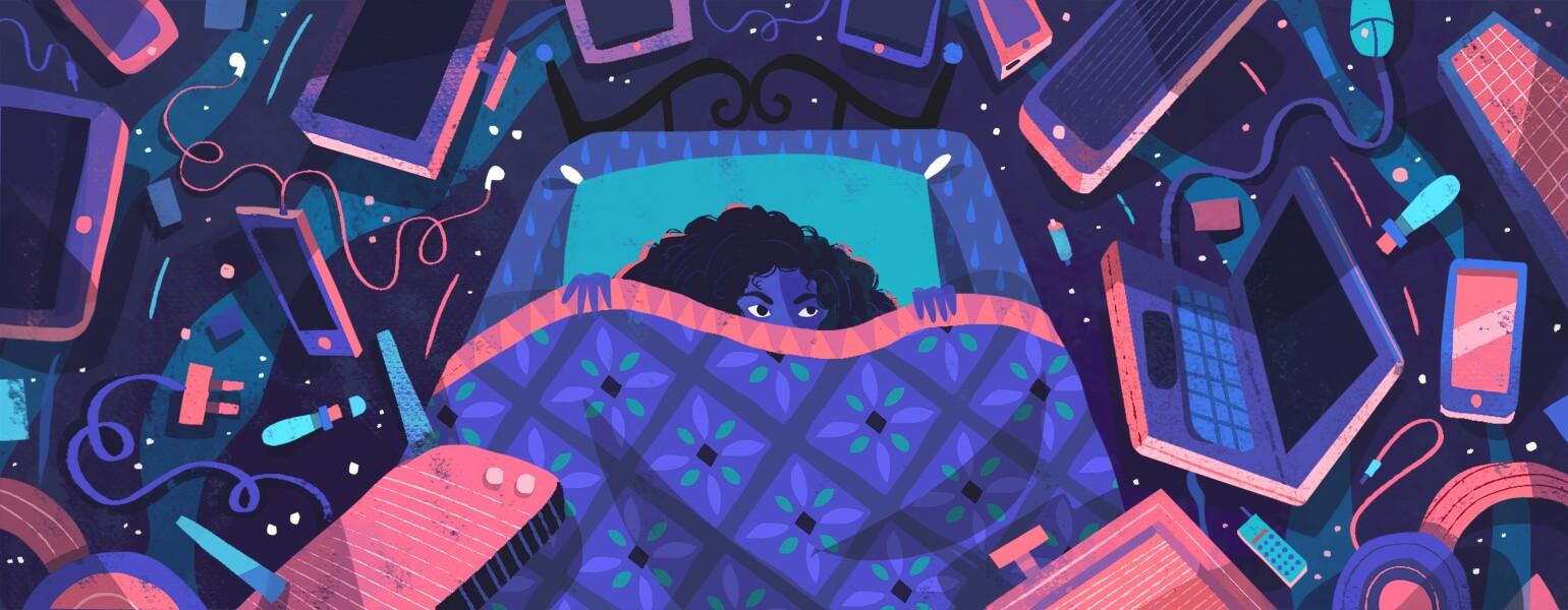 illustration of lady laying in bed surrounded by electronics